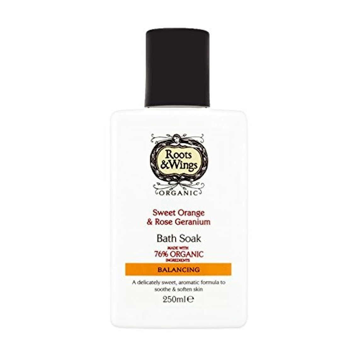 シャーマーガレットミッチェル性的Roots & Wings Bath Soak Sweet Orange & Rose Geranium 250ml (Pack of 6) - ルーツ&翼バス甘いオレンジを浸し&ゼラニウム250ミリリットルをバラ (x6...