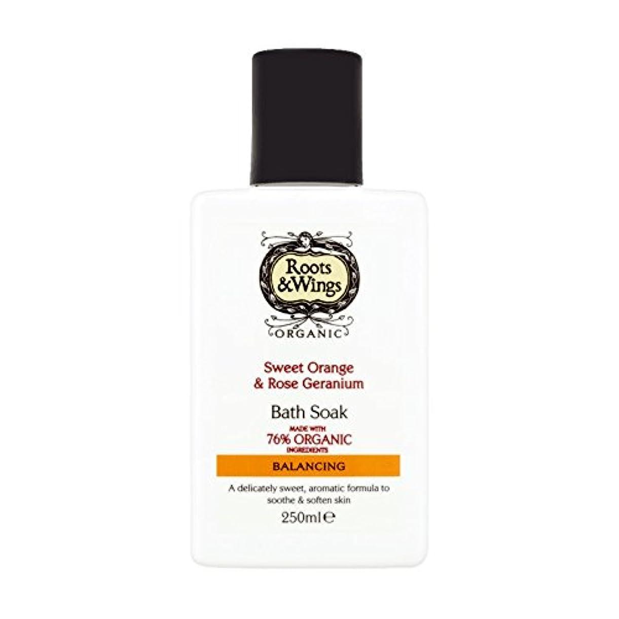 作物謝罪不快Roots & Wings Bath Soak Sweet Orange & Rose Geranium 250ml (Pack of 2) - ルーツ&翼バス甘いオレンジを浸し&ゼラニウム250ミリリットルをバラ (x2...