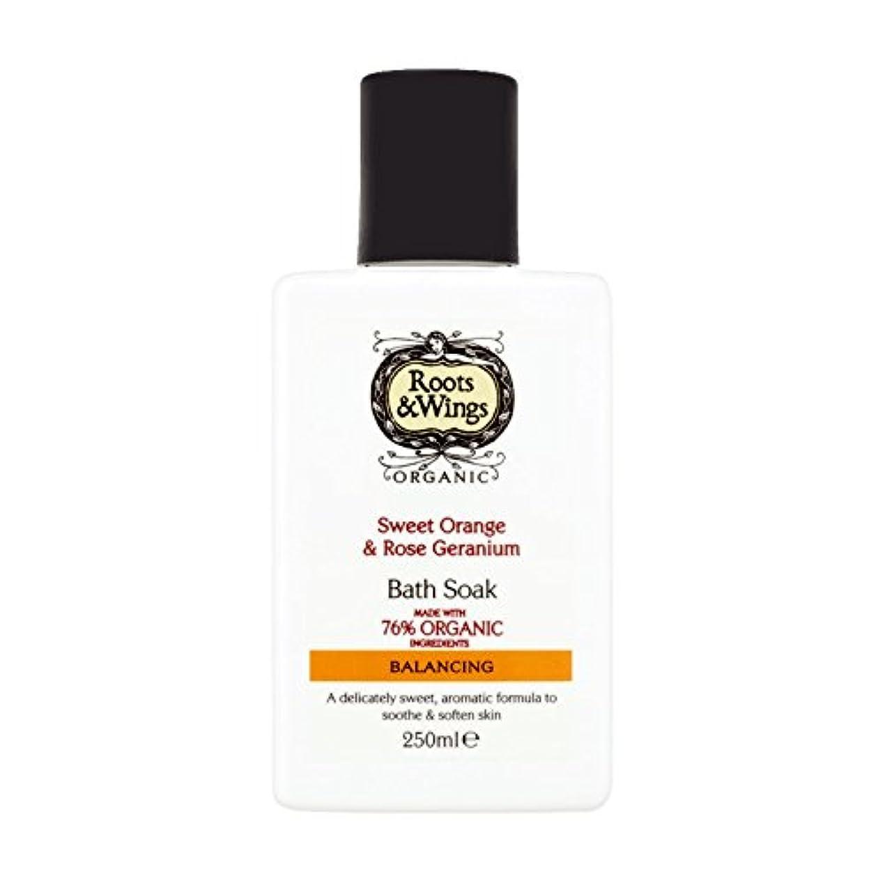 スリンク阻害するスコアRoots & Wings Bath Soak Sweet Orange & Rose Geranium 250ml (Pack of 6) - ルーツ&翼バス甘いオレンジを浸し&ゼラニウム250ミリリットルをバラ (x6...