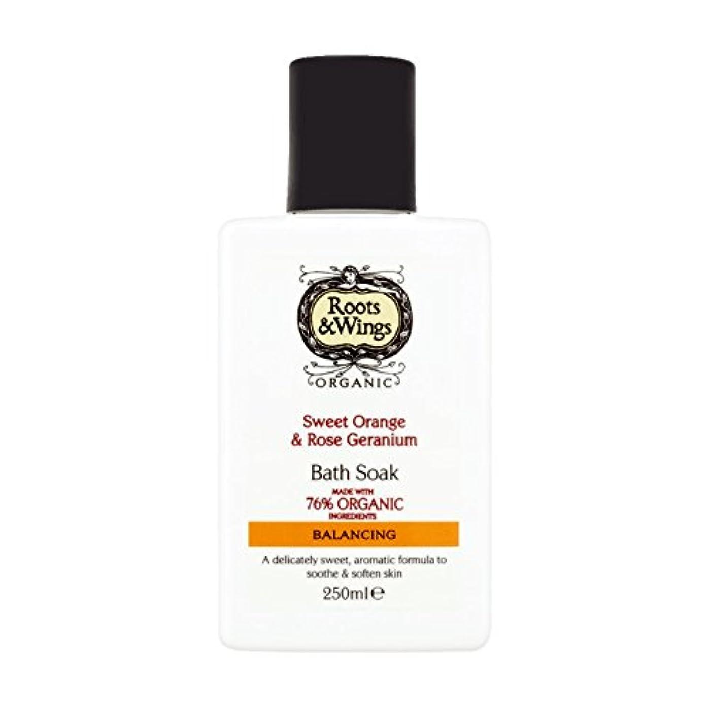流星つまずく休戦Roots & Wings Bath Soak Sweet Orange & Rose Geranium 250ml (Pack of 6) - ルーツ&翼バス甘いオレンジを浸し&ゼラニウム250ミリリットルをバラ (x6...