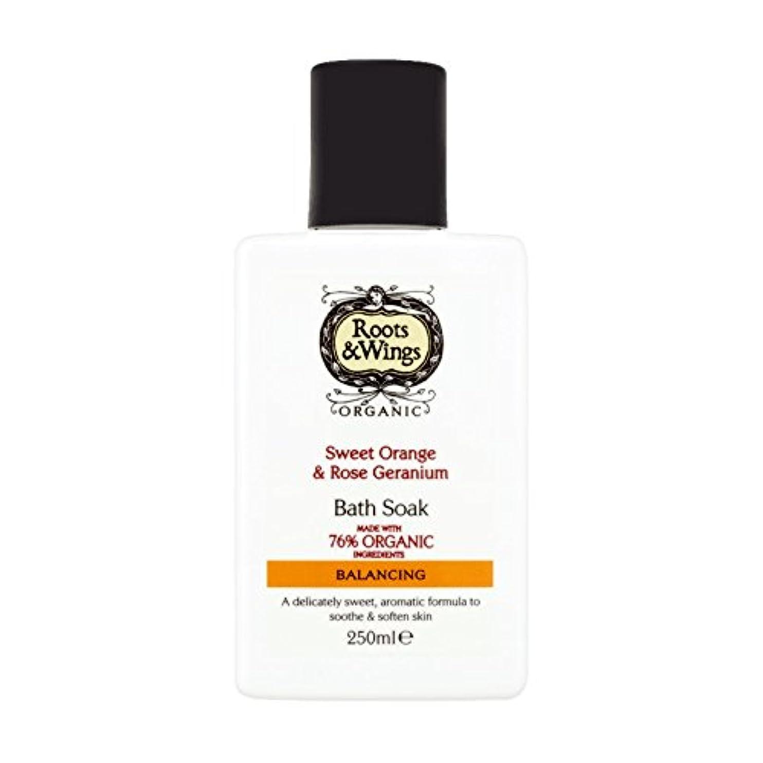 評価するエイズ噂Roots & Wings Bath Soak Sweet Orange & Rose Geranium 250ml (Pack of 2) - ルーツ&翼バス甘いオレンジを浸し&ゼラニウム250ミリリットルをバラ (x2...