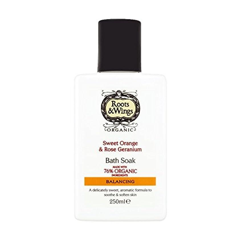 毒カポック卵Roots & Wings Bath Soak Sweet Orange & Rose Geranium 250ml (Pack of 2) - ルーツ&翼バス甘いオレンジを浸し&ゼラニウム250ミリリットルをバラ (x2...