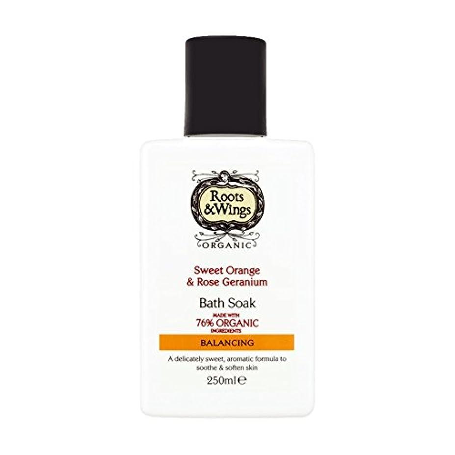 寸法作成する掘るRoots & Wings Bath Soak Sweet Orange & Rose Geranium 250ml (Pack of 2) - ルーツ&翼バス甘いオレンジを浸し&ゼラニウム250ミリリットルをバラ (x2...