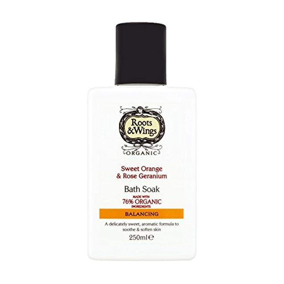 ライナーベスト遅滞Roots & Wings Bath Soak Sweet Orange & Rose Geranium 250ml (Pack of 2) - ルーツ&翼バス甘いオレンジを浸し&ゼラニウム250ミリリットルをバラ (x2...
