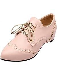 (オールエイチキューファッション) AllhqFashion レディース 純色 PUの皮 ローヒール クローズドトゥ レースアップ パンプス 24.5cm ピンク