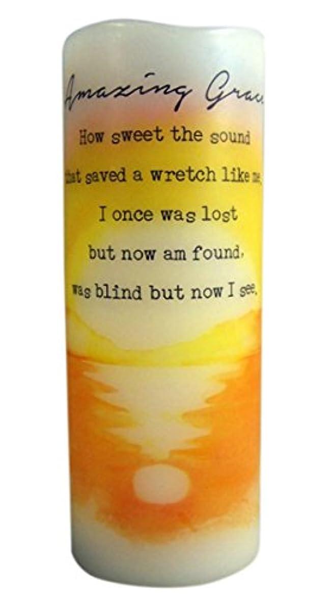 アルカトラズ島内側日の出Amazing Grace Flamless Flicker Vanilla Scented Wax Candle with LED Light, 20cm
