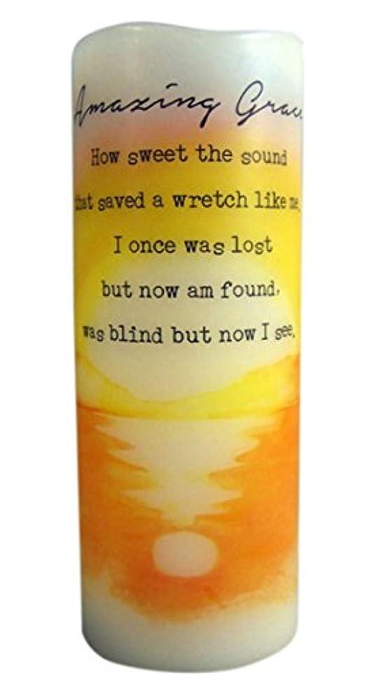 編集者単独で刃Amazing Grace Flamless Flicker Vanilla Scented Wax Candle with LED Light, 20cm