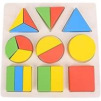Chinatera木製ジオメトリパズル教育建物ブロックおもちゃ