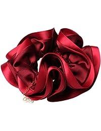 shefun シュシュ ボリューム パール サテン エレガント おしゃれ 大人 デイリー 髪飾り 4色JP125 (Red)