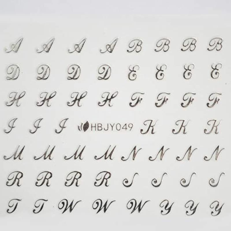 入り口提供吹雪アルファベットやメッセージ柄のネイルシール (筆記体 シルバー)
