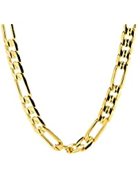 Figaro Chain Gold Chain Necklace 7mm Diamond Cut 24K 30X Thicker Than Any Overlay USA Made.