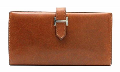 [エルメス] HERMES ベアン 2つ折 長財布 BOXカーフ ボックスカーフ 茶 ブラウン シルバー金具 □F刻印