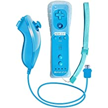 Remote Game Control, CooleedTEK Built-in Motion Plus Remote and Nunchuk Controller with Silicon Case for Nintendo Wii and Wii U (Blue)