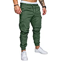 LINGMIN Men's Athletics Pocket Chino Cargo Pant Elastic Waist Trousers Jogger Pants