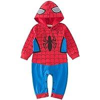 (ホーマイ)HOOMAI ハロウィン コスプレ ベビー ロンパース スパイダーマン 長袖 フード ベビー服 クリスマス 衣装 カバーオール 90