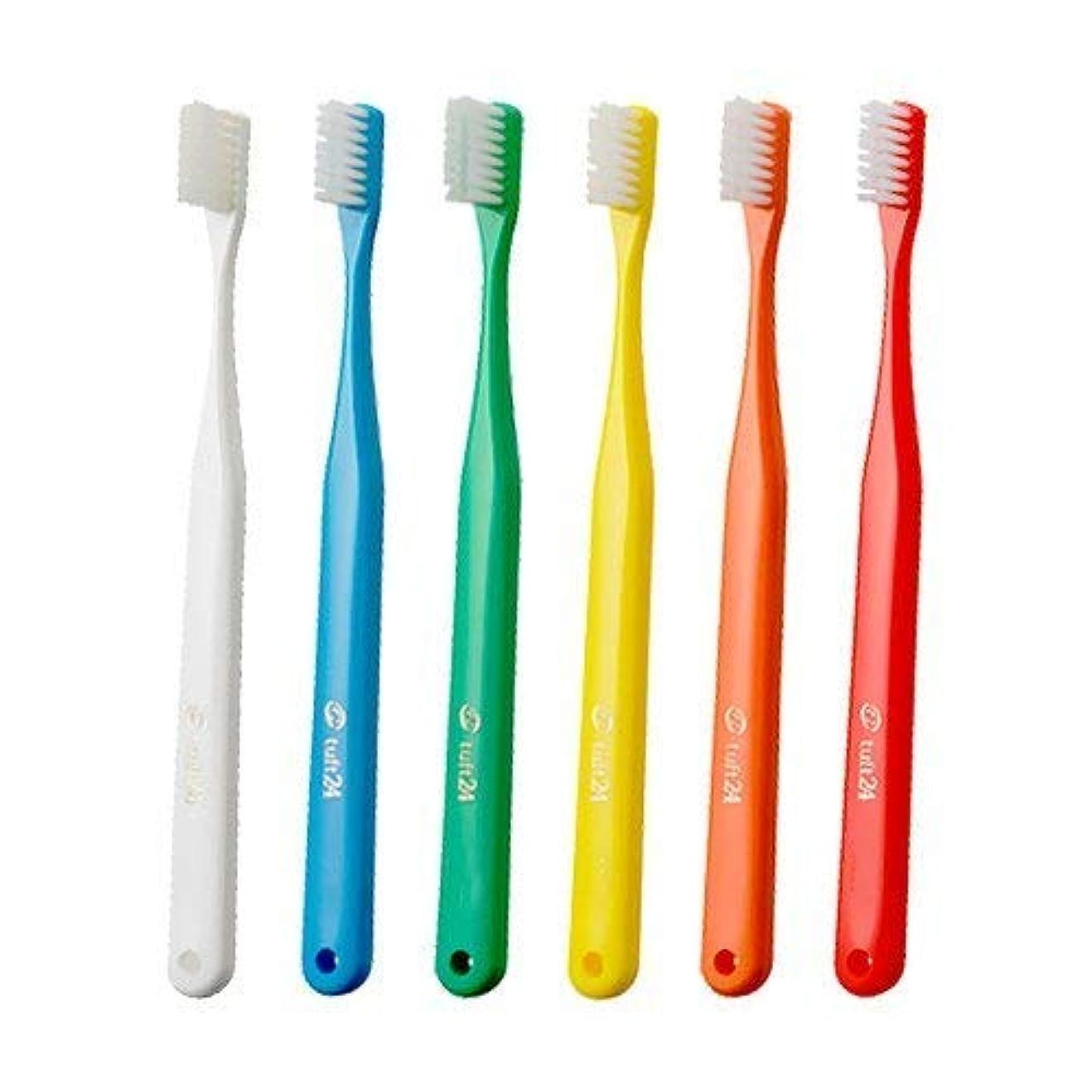 少し流暢歩行者オーラルケア キャップなし タフト24 歯ブラシ × 10本 (M)