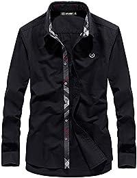 (habille)メンズ チェックライン バーバリーチェック柄 長袖シャツ Yシャツ 6色 展開 多色 きれいめ シルエット おまけ付(6カラー)