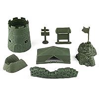 Militaryモデル7ピースセットFort、テント、U -型シェルター、サンドバッグ、案内標識、バリケード、7-pointミニチュアフィギュアホビーおもちゃモデルのフラグ