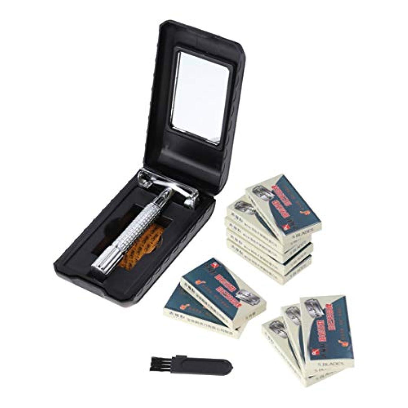 死ぬバスクリスチャンSUPVOX 男性のための50pcs刃の二重端の携帯用ステンレス鋼が付いている安全かみそり