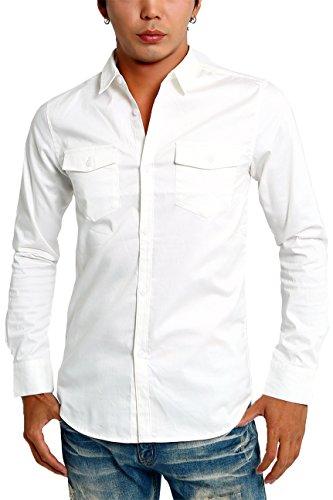 インプローブス シャツ 長袖 ストレッチ ツイル スリムシャツ メンズ