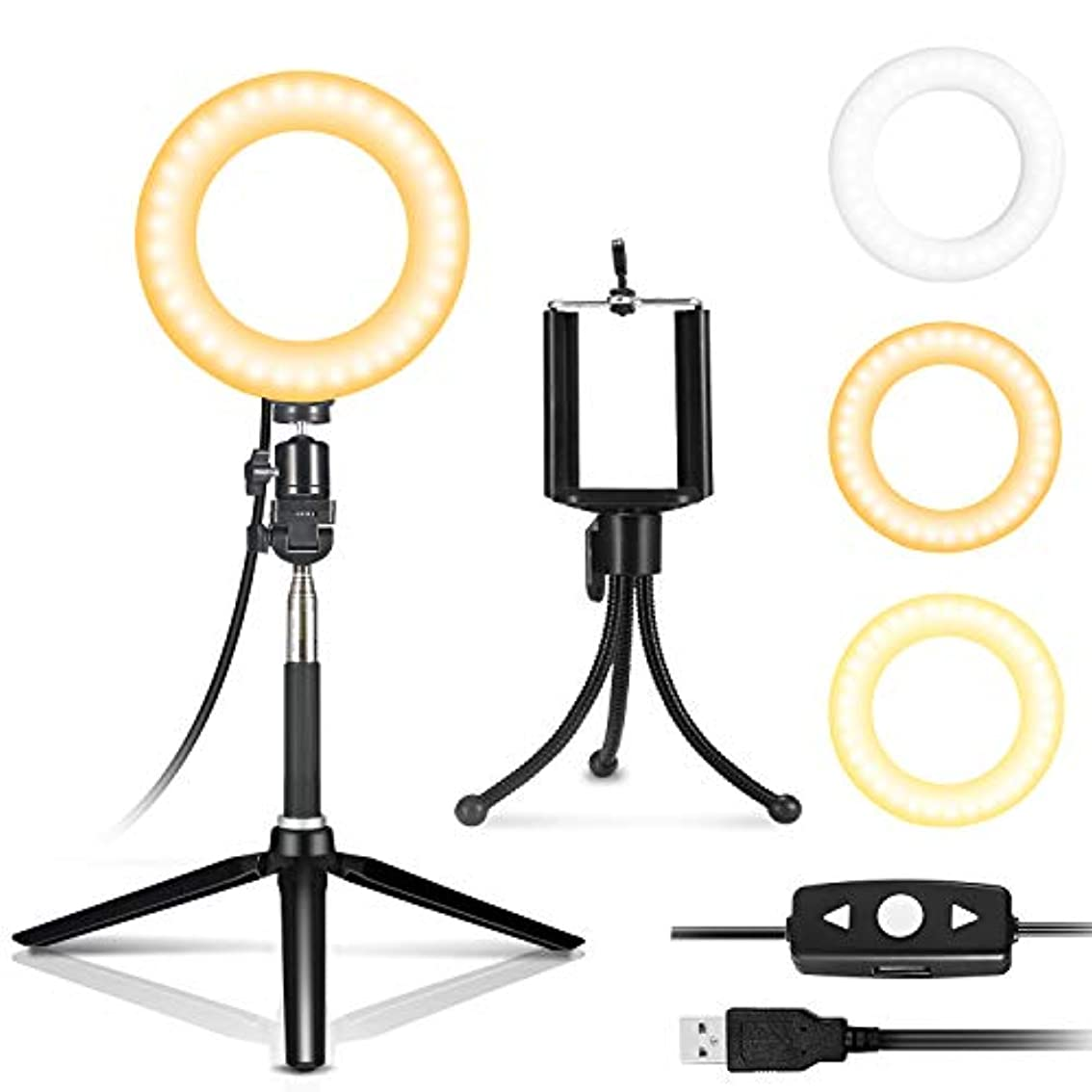 役員写真を撮る食事IDESION 自撮り補助セルフィー LEDライト ミラー 女優ライト 6インチ円形 3色調節可能 リモコン付き ハリウッドライト USB給電 日本語説明書付き