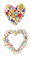 ポスター ウォールステッカー 長方形 シール式ステッカー 飾り 90×47cm Lsize 壁 インテリア おしゃれ 剥がせる wall sticker poster ユニーク フラワー ハート カラフル 003440