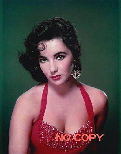 大きな写真、エリザベス・テイラー、赤いドレスのカメラ視線