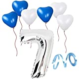 誕生日パーティー  飾り付けセット シルバー38センチ 数字(7) 天然ゴム 風船セット(ts-t07)