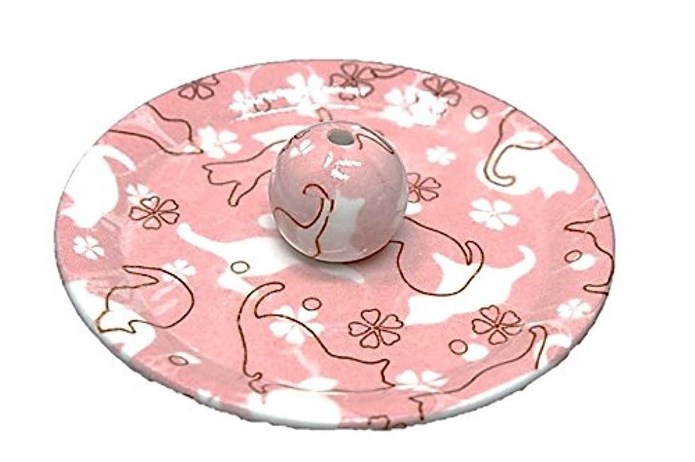 未接続安西黒板9-46 ねこランド(ピンク) 9cm香皿 日本製 お香立て 陶器 猫柄