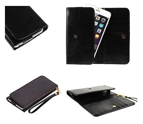 DFV mobile - プレミアム クレイジー ホース合成皮革財布のカード スロットを持つケースを...