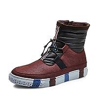 [Jepsen] (ジェプセン) カジュアルブーツ メンズ 暖かい 防寒 ショットブーツ サイドジップ Uチップ ワインレッド 25cm (EU 40)