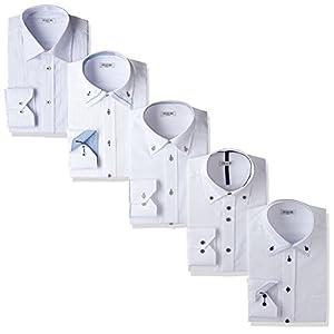(アトリエサンロクゴ) atelier365 ワイシャツ 5枚セット 長袖 ワイシャツ 形態安定 Yシャツ ビジネスシャツ/at101-L-41-83-AT101-Gset-SS-17