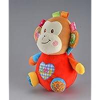 Keaner新生児幼児Roly - Polyおもちゃ動物キュートShake Litter Monkey Plush Toyタンブラートイギフト装飾_ (レッド+ブラウン)