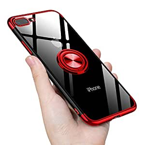 iPhone8 Plus ケース/iPhone7 Plus ケース リング 透明 クリア リング付き tpu シリコン メッキ加工 スリム 薄型 5.5インチ スマホケース 耐衝撃 ストラップホール 黄変防止 アイフォン8Plusケース 一体型 人気 携帯カバー レッド
