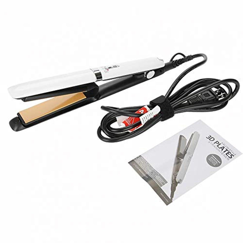省略するはさみする電動 ヘアアイロン、100-240V プロフェッショナル 調節可能 全てのヘアタイプ セラミックプレート マイナスイオン スタイリングアイロン ストレート カール両用 (1)