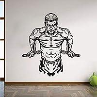Hnzyf完璧な品質アート壁飾り筋肉男ビニール取り外し可能な壁のステッカー高校防水リビングルームの装飾ステッカー60×56cm
