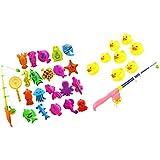 SM SunniMix 釣りおもちゃ 水浴おもちゃ 魚動物モデル 釣竿セット 磁気 釣りゲーム おもちゃ 2セット