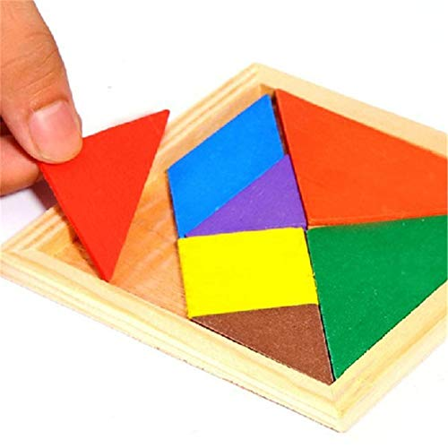 LALANG Wooden Puzzle Brain Teasers Toy Intelligence 3D Tangram Jigsaw Blocks Game Educational Gift for Baby Kids