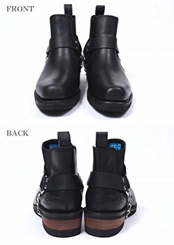 (アルファ) ALPHA ブーツ ロゴ刻印 サイドゴア リングブーツ AFB-20011-BLACK (25.5cm, ブラック)