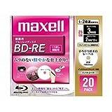 maxell 録画用 BD-RE 25GB 2倍速対応 プリンタブル ホワイト ひろびろ超美白レーベル 20枚入 BE25VFWPA.20S