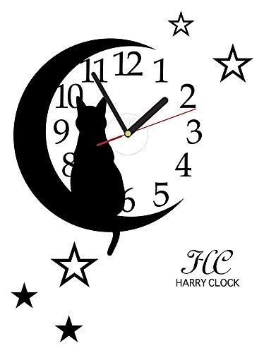 HARRY ウォールステッカー 時計付き 貼ってはがせる 転写式 猫とお月さま/ブラック 約45cm×45cm