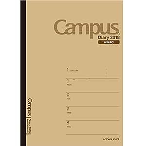 コクヨ キャンパスダイアリー 手帳 2018年 1月始まり ウィークリー A5 薄茶 ニ-CWHS-A5-18
