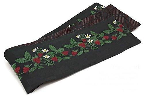 (ソウビエン) 半幅帯 おりびと 織美桐 黒 ブラック 苺 イチゴ いちご ワイルドストロベリー 半巾帯 浴衣帯 小紋用 紬用