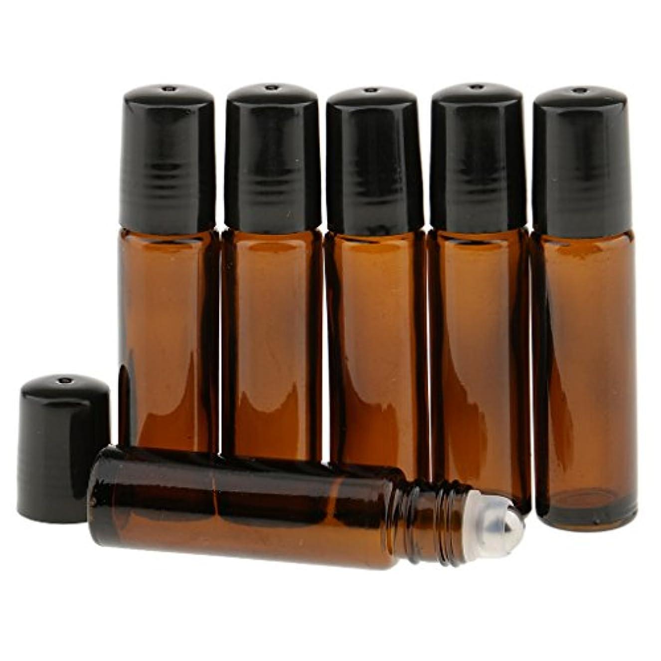 ズボンぎこちない草香水ボトル 6本 10ml ガラスロール 小分けボトル 漏れ防止 全4色 - ダークブラウン
