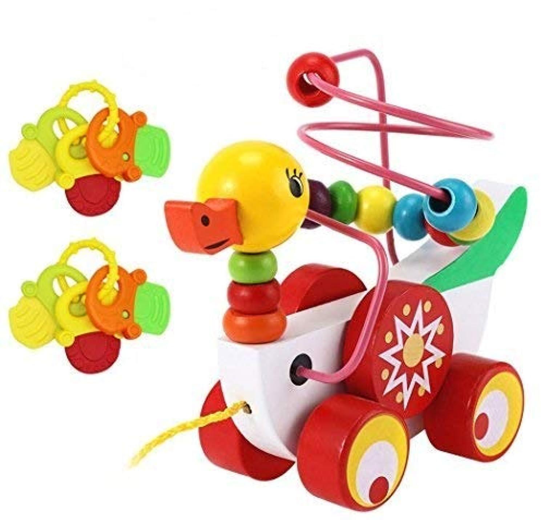 Aimeio Bead Maze of Ducklings --木製教育玩具Pull AlongおもちゃPull Cart Toy頑丈な文字列Developmentalトイfor Babies Boys & Girls