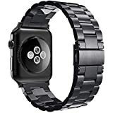 Simpeak Compatible for Apple Watch Band, Simpeak Stainless Steel Band Strap for Apple Watch 42mm Series 1 Series 2 Series 3-Black