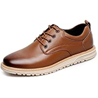 CHENDX Shoes Leisure Oxford for Men Classic Shoes Lace up Microfiber Leather Flat Stitching Wear Resistant Lightweight Round Toe Burnished Style (Color : Brown, Size : 7 UK)
