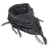 Uniqus Unisex Lightweight Plaid Tassel Arab Desert Shemagh KeffIyeh Scarf Wrap Pashmina Gray