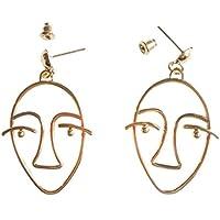 ASKANA Women`s Fashion Human Face Shaped Alloy Gold Color Stud Earrings
