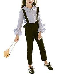 Weileenice® 子供服 女の子 2点セット 上下セット サロペット シャツ パンツ ストライプ 長袖 韓国風 学院風 おしゃれ ファッション 通学 通園 写真撮影